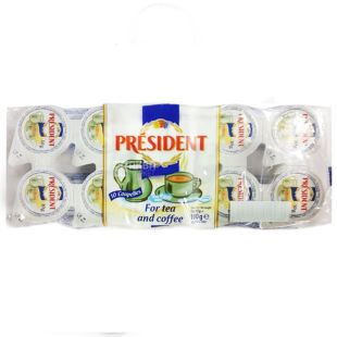 President, упаковка 20 шт. по 10 г, 10%, вершки порційні