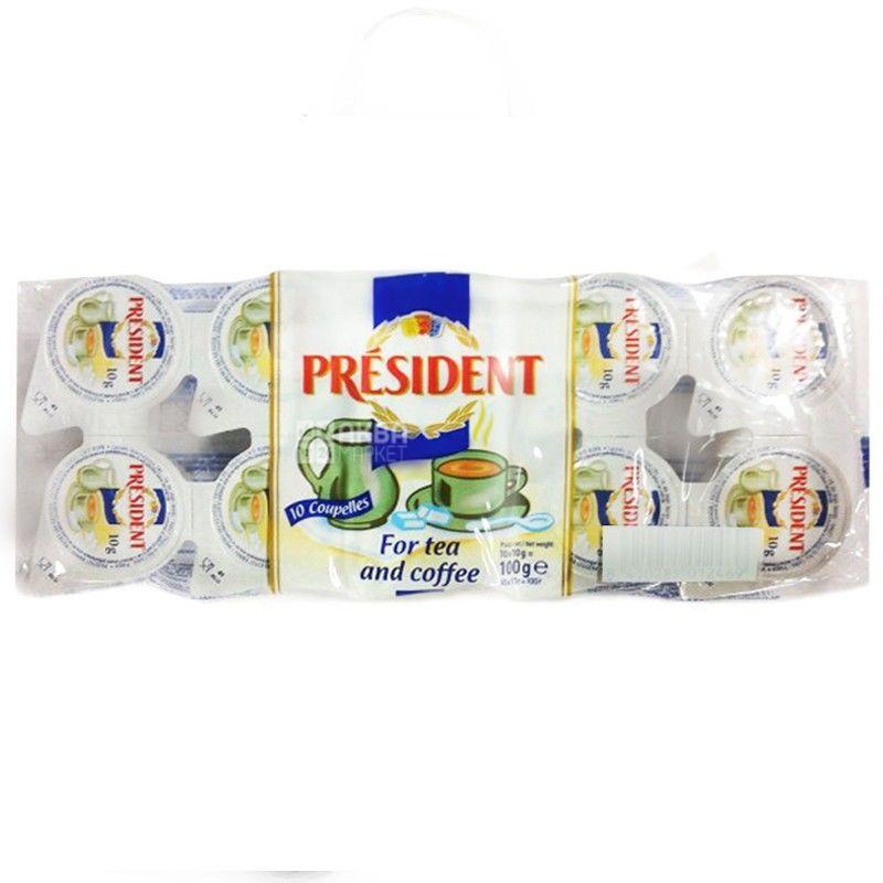 President, упаковка 20 пачок по 10 штук (200 порцій), Сливки Президент, порційні, 10%