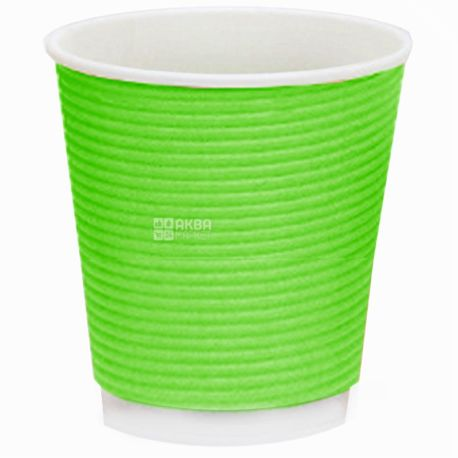 Стакан бумажный Гофрированный зеленый 110 мл, 25 шт, D60