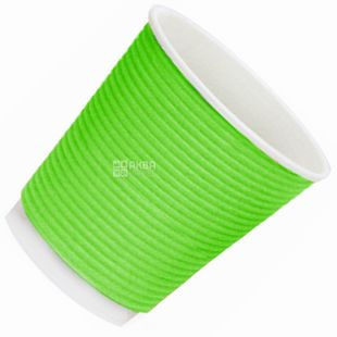 Стакан паперовий, 110 мл, 25 шт., Гофрований, Зелений