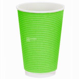 Гофростакан паперовий зелений 180 мл, 25 шт, D73