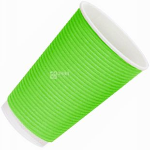 Гофростакан бумажный зеленый 180 мл, 25 шт, D73