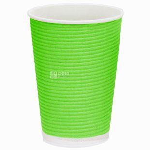 Гофростакан паперовий, Упаковка, 25 шт., 400 мл, Зелений