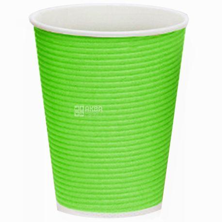 Гофростакан паперовий зелений 250 мл, 50 шт, D80
