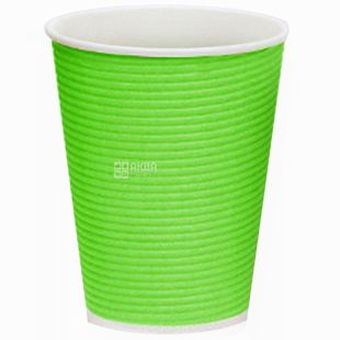 Гофростакан бумажный зеленый 250 мл, 25 шт, D80