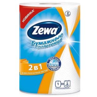 Zewa, 120 шт., паперові рушники, Двошарові, Білі