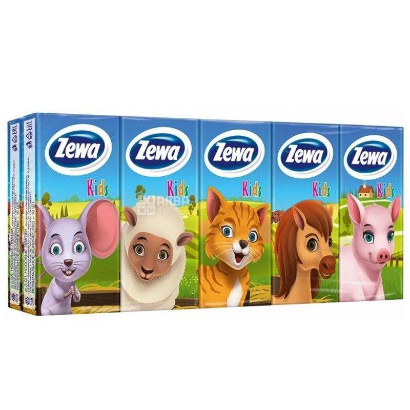 Zewa Kids, 10 шт., Хусточки носові паперові Зева, Дитячі, 2-х шарові