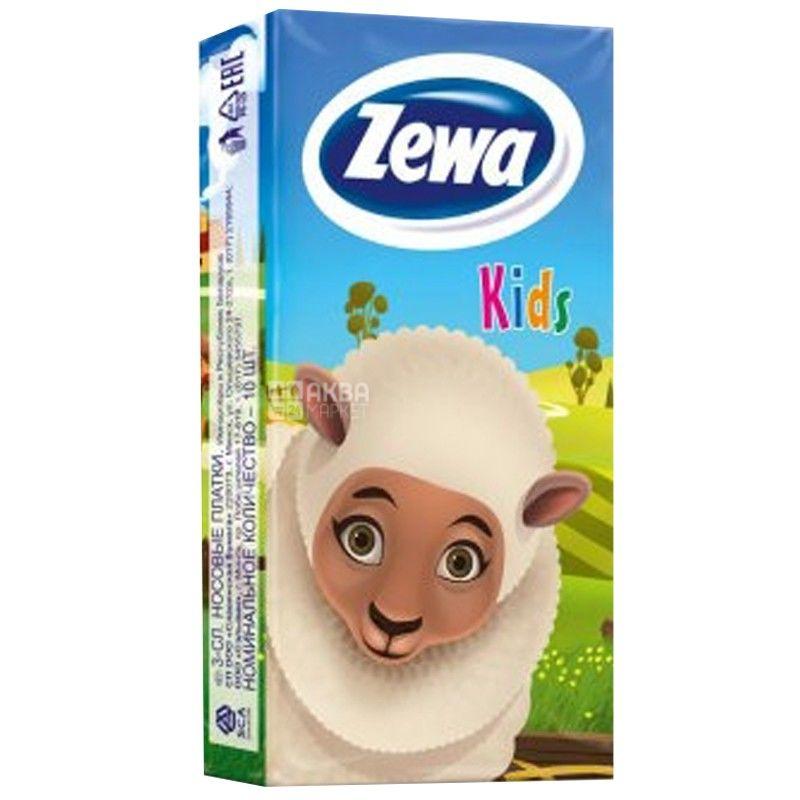 Zewa Kids, 10 шт., Платочки носовые бумажные Зева, Детские, 2-х слойные