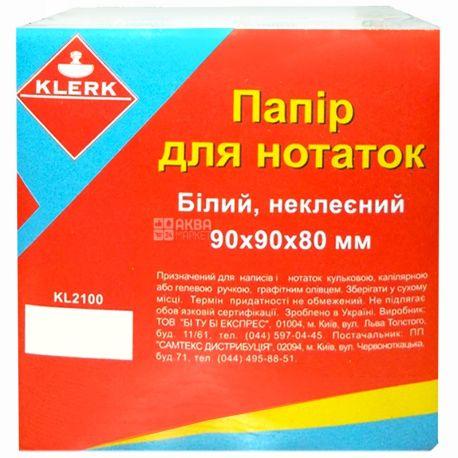 Klerk, 90х90х80 мм, папір для нотаток, Білий