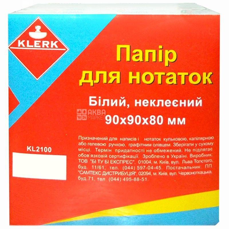 Klerk, 90х90х80 мм, бумага для заметок, Белая
