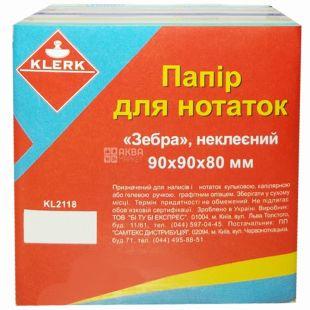 Klerk, 90х90х80 мм, папір для нотаток, Зебра, Асорті