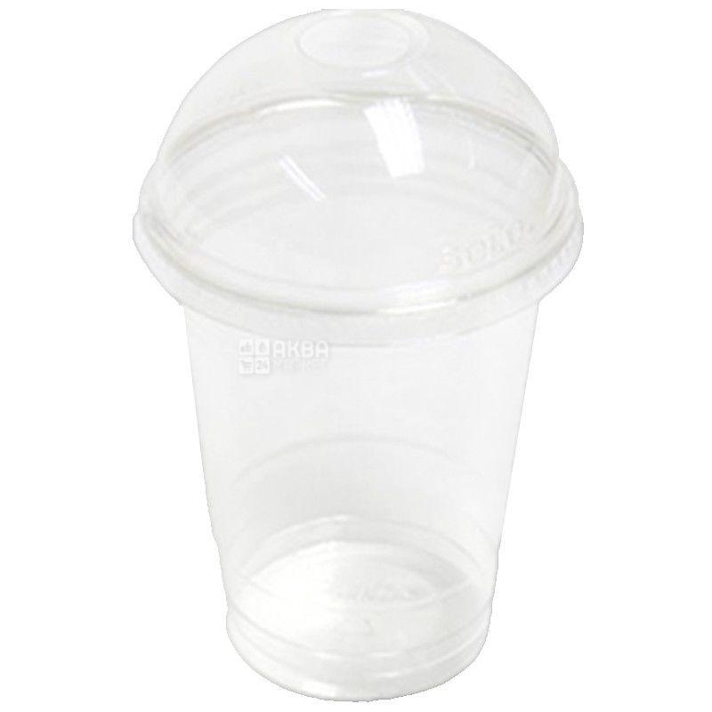 Стакан пластиковый С купольной крышкой Прозрачный 400 мл, 50 шт.