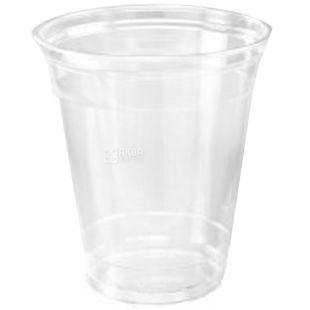 Стакан пластиковий, 50 шт., 400 мл, З купольною кришкою, Прозорий