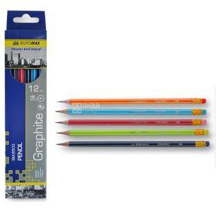Buromax, 12 pcs., Pencil, Black HB