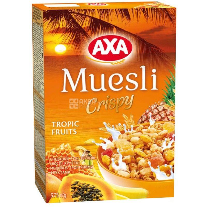AXA, 375 г, Мюсли медовые, с тропическими фруктами, сухой завтрак, быстрого приготовления