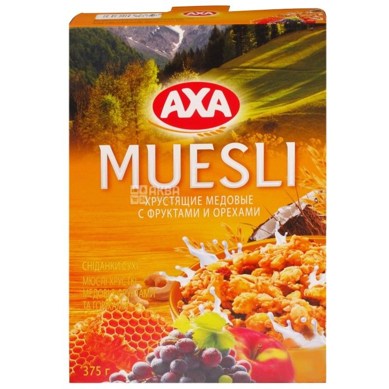 AXA, 375 г, Мюсли медовые, с фруктами и орехами, сухой завтрак, быстрого приготовления