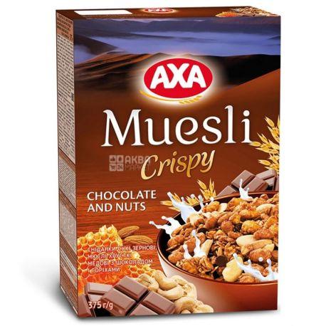 AXA, 375 г, мюсли медовые, С шоколадом и орехами