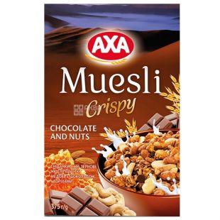 AXA, 375 г, Мюслі медові, з шоколадом і горіхами, сухий сніданок, швидкого приготування