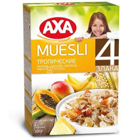 AXA, 300 г, Мюсли, из 4-х видов злаков, тропические фрукты, сухой завтрак, быстрого приготовления