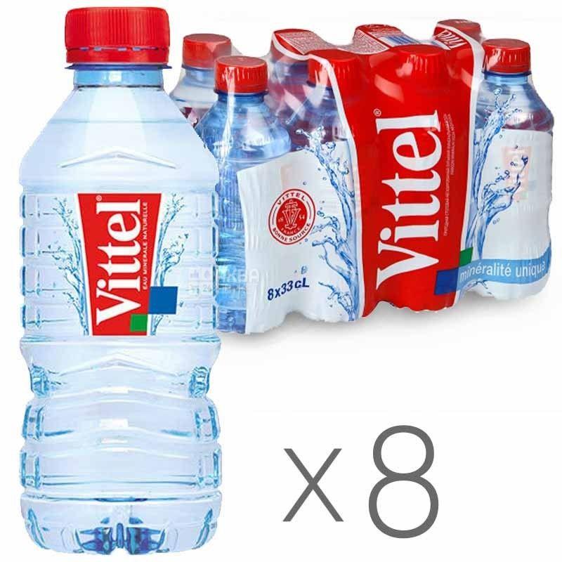Vittel, Вода минеральная негазированная, 0,33 л, Упаковка 8 шт.