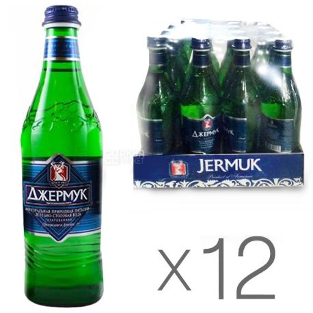 Jermuk, pack of 12 pcs. 0.5 l each, sparkling water, glass, glass