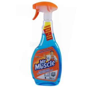 Mr. Muscle, 500 мл, средство для мытья стекол, Cо спиртом, ПЭТ