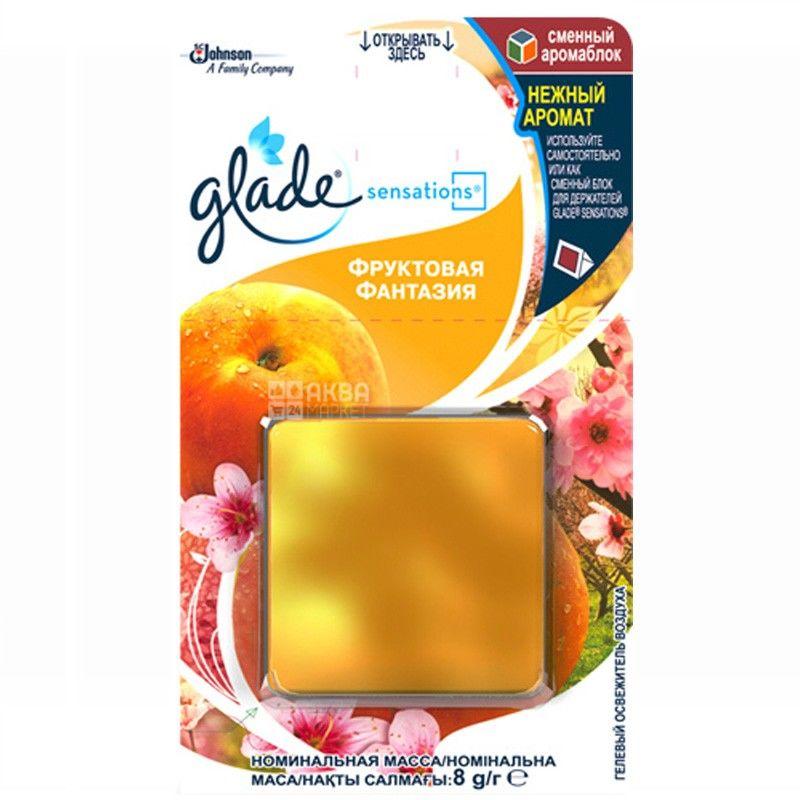 Glade Sensations, 8 г, освежитель воздуха, Фруктовая фантазия, Сменный аромаблок