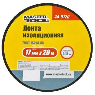 MASTER TOOL, 20 м, лента изоляционная, Черная, 44-9120
