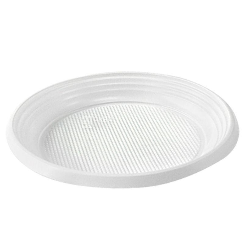 Тарелка пластиковая, 100 шт., 170 мм, Десертная, Белая