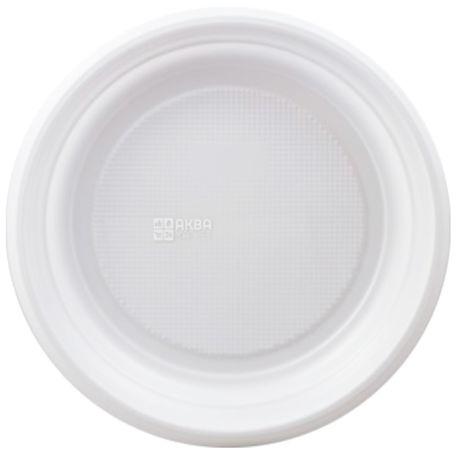 Тарілка пластикова, 100 шт., 170 мм, Десертна, Біла