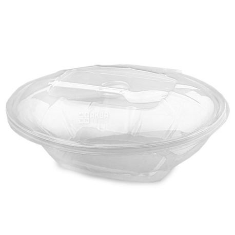 Альфа пак, Упаковка 10 шт., Контейнер пищевой, 375 мл, Для салата, С вилкой, Пластиковый, м/у