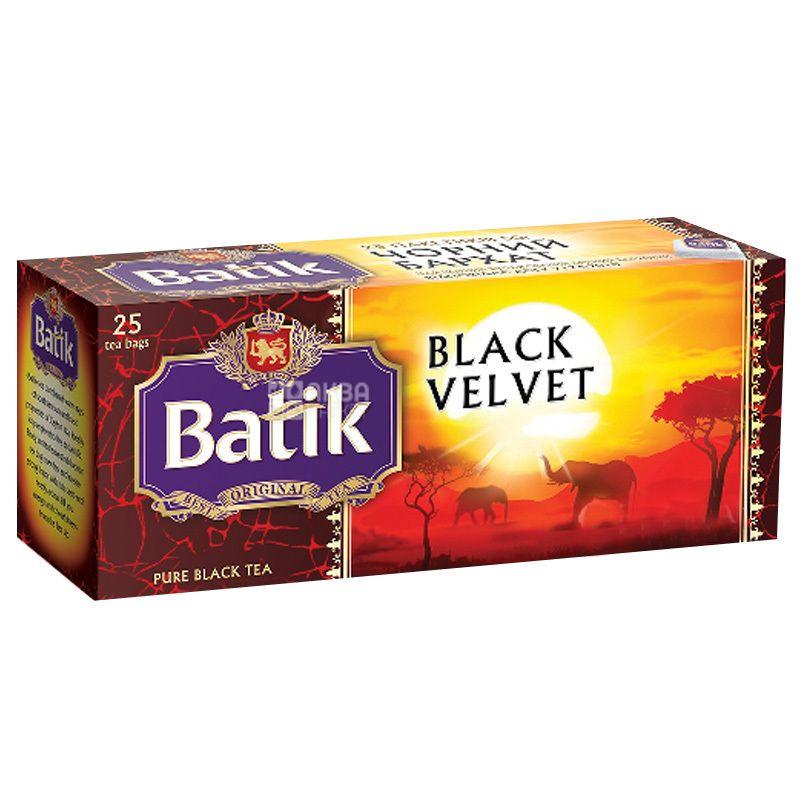 Batik, Black Velvet, 25 пак., Чай Батік, Блек Вельвет, чорний