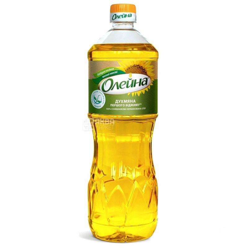 Олейна, 0,87 л, масло подсолнечное, Нерафинированное, Душистое, ПЭТ