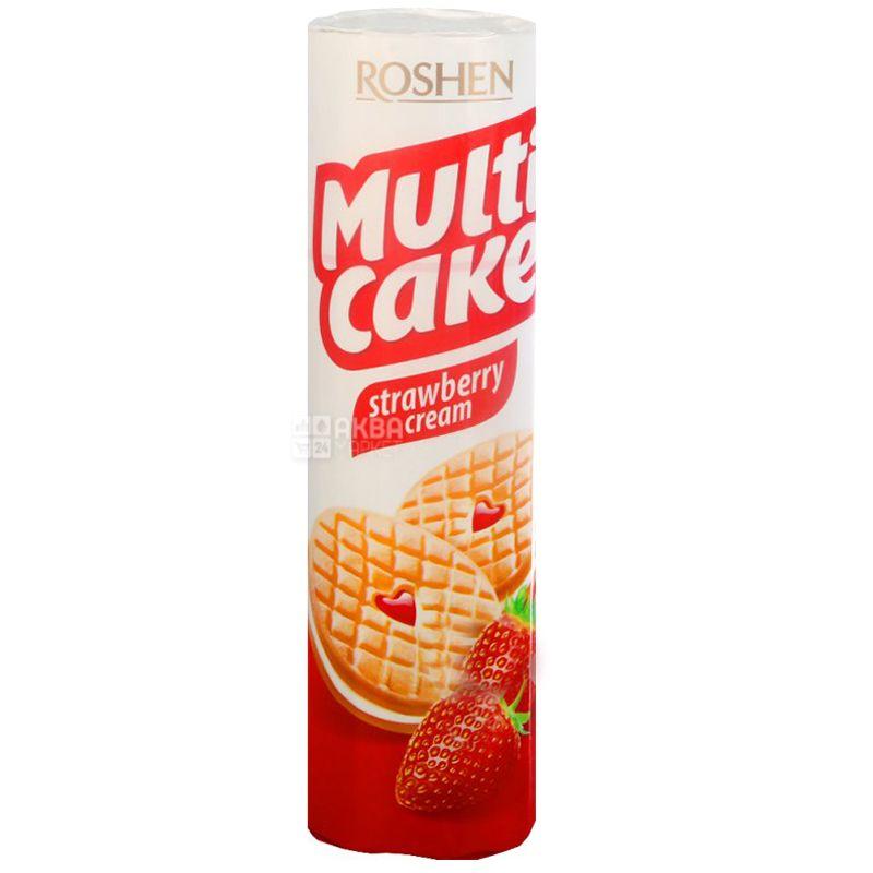 Roshen, 195 г, печенье-сендвич, Клубника-крем, Multi Cake