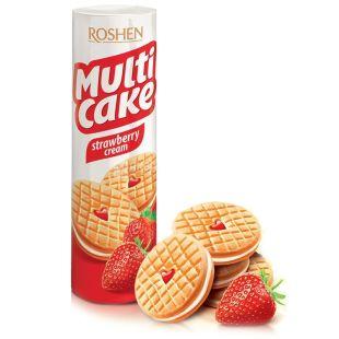 Roshen, 195 г, печиво-сендвіч, Полуниця-крем, Multi Cake