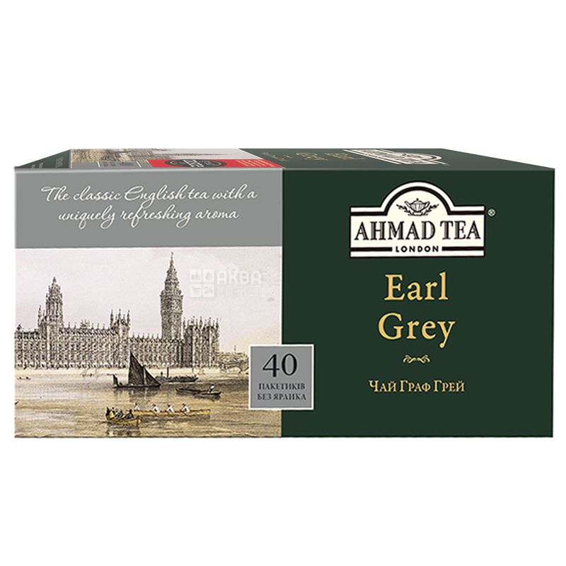 Ahmad Tea Earl Grey, 40 пак, Чай черный Ахмад Ти Эрл Грей