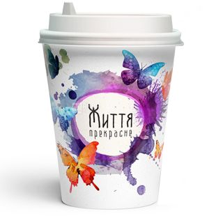 Glass paper Butterflies 250 ml, 50 pcs, D80