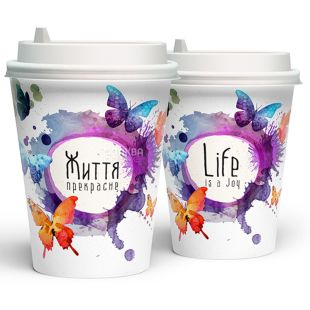 Butterfly paper glass 400 ml, 50 pcs, D92