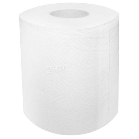 Джамбо, 100 м, Бумажные полотенца КПК, Двухслойные, Целлюлозные Белые, HoReCa