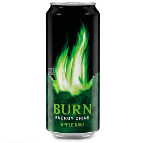 Burn Apple Kiwi, 0,25 л, Напиток энергетический Бёрн Эппл Киви