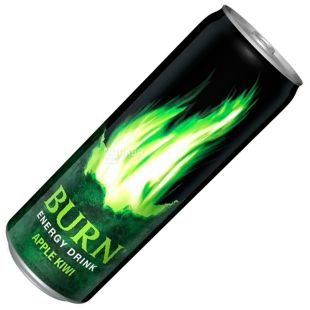 Burn, 0,25 л, Напій енергетичний, Apple Kiwi, ж/б