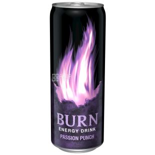 Burn, 0,25 л, Напій енергетичний, Passion Punch, ж/б