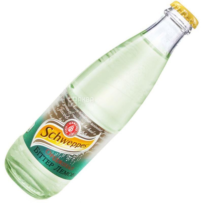 Schweppes, Bitter Lemon, 0,25 л, Швепс, Оріджінал Біттер Лимон, Вода солодка, з натуральним соком, скло
