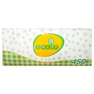 Ecolo, 450 шт., Салфетки столовые Эколо, однослойные, 24х24 см, белые