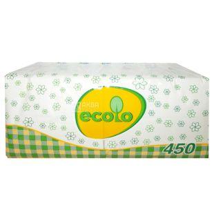 Ecolo, 450 шт., Серветки столові Еколо, одношарові, 24х24 см, білі