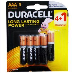 Duracell, 4+1 шт., AAA, батарейки