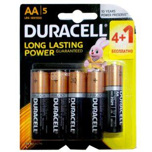 Duracell, 4+1 шт., AA, батарейки
