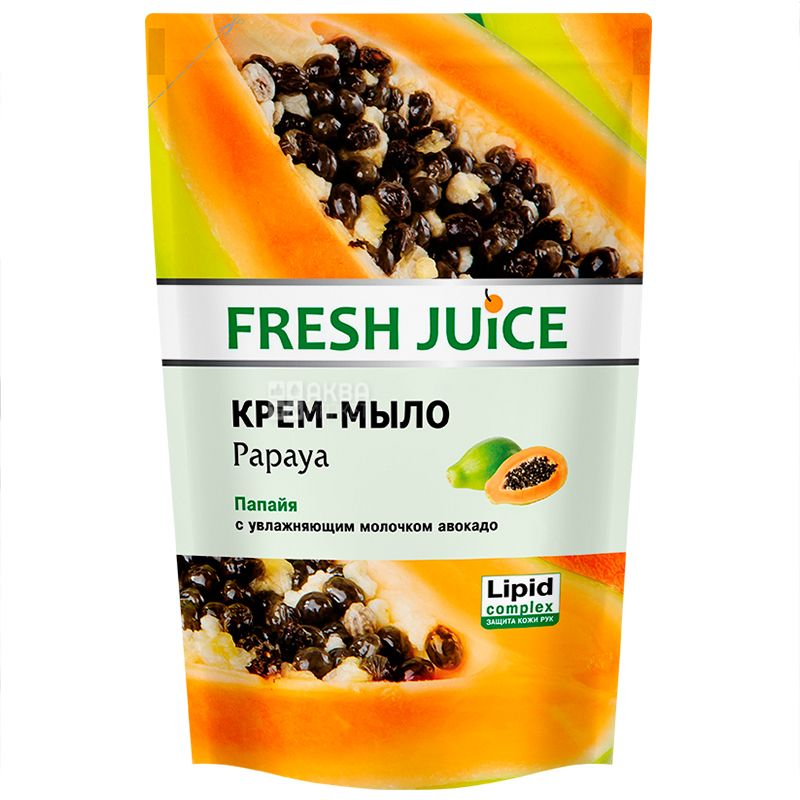 Fresh Juice, 460 мл, крем-мыло, Папайя с увлажняющим молочком авокадо