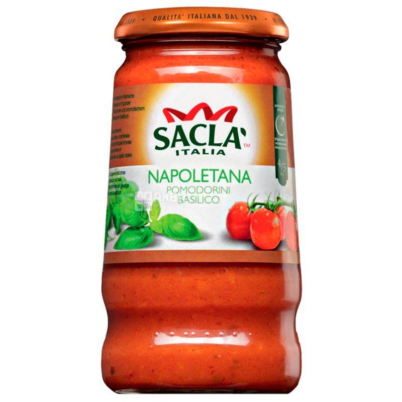 Sacla, 420 г, Соус, С помидорами черри и базиликом, стекло