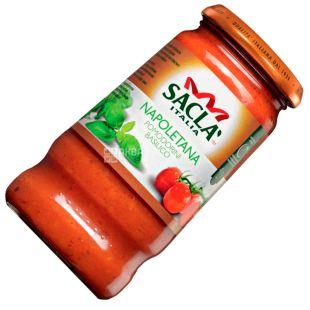 Sacla, 420 г, Соус, З помідорами чері та базиліком, скло
